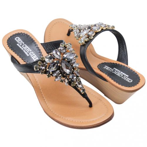 華麗美鑽小羊皮楔型夾腳涼鞋