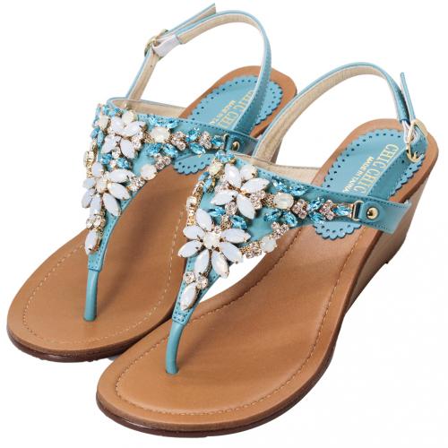 華麗珠寶小羊皮平口楔型小坡涼鞋