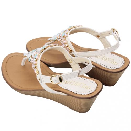 華麗珠寶小羊皮夾腳楔型小坡涼鞋