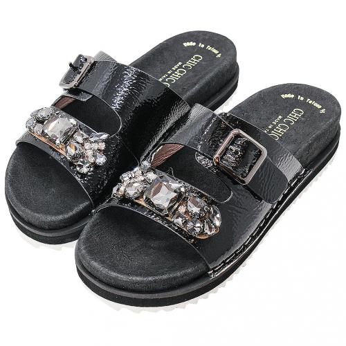 寶石質感牛漆皮輕量化拖鞋