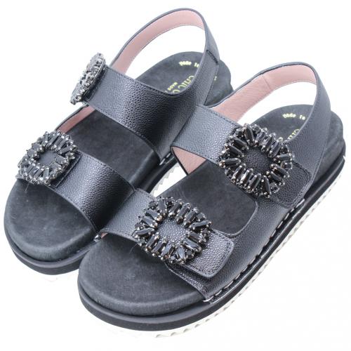 RV風小牛皮厚底氣墊涼鞋