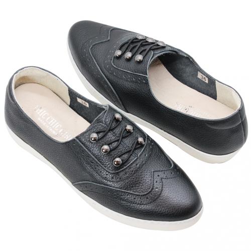 軟Q牛津風小牛皮氣墊尖頭休閒鞋