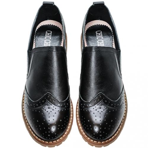 牛津風小牛皮氣墊低跟鞋