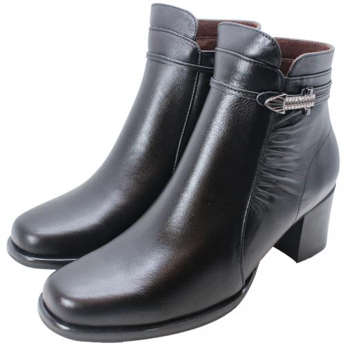 義大利頂級小羊皮抓皺亮鑽中跟短靴