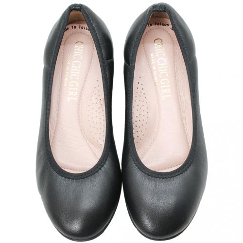 OL款小羊皮圓頭低跟鞋
