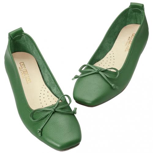 蝴蝶結荔枝紋小牛皮方頭娃娃鞋