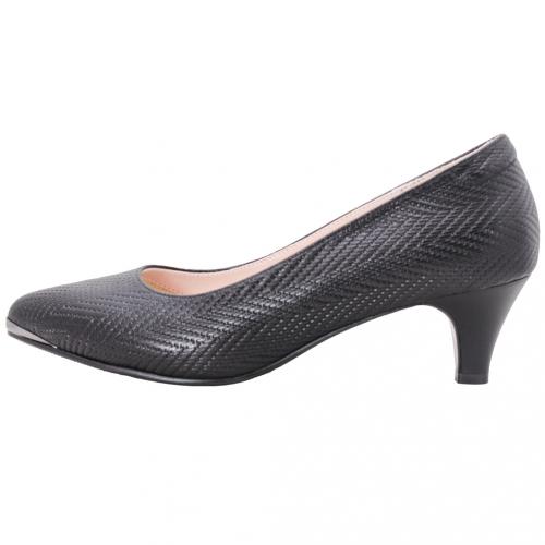優雅風小牛皮特殊編織壓紋中跟鞋