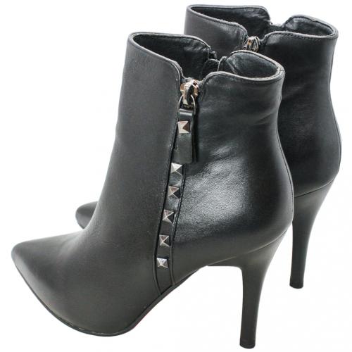 歐美風小牛皮鉚釘細跟短靴