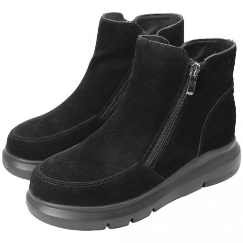 百搭牛麂皮保暖楔型內增高雪靴
