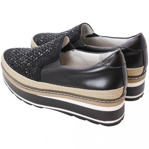 閃亮水鑽小羊皮厚底草編鬆糕鞋