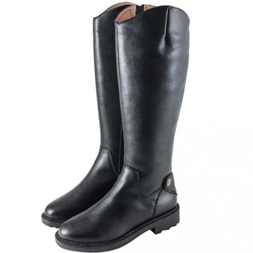 馬汀風小牛皮粗跟厚底素面長靴