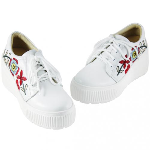 Gucci風繡花小羊皮內增高輕量化休閒鞋