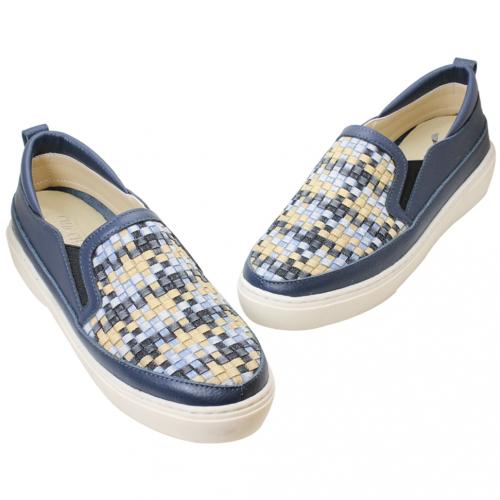 丹寧風彩色編織小牛皮厚底休閒鞋