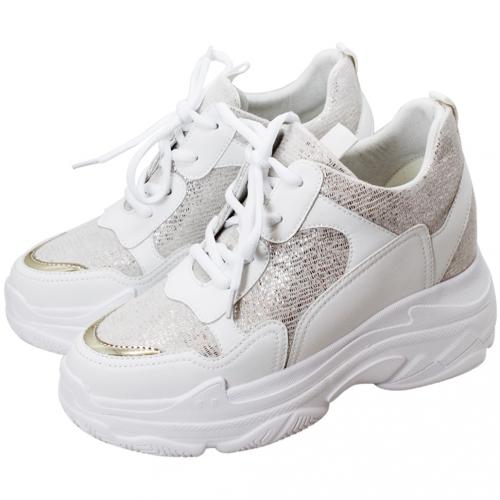 運動風小牛皮內增高輕量化老爺鞋