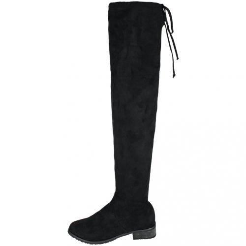 貼腿顯瘦時尚絨布過膝低跟襪靴