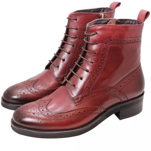 復古牛津風小牛皮低跟短靴