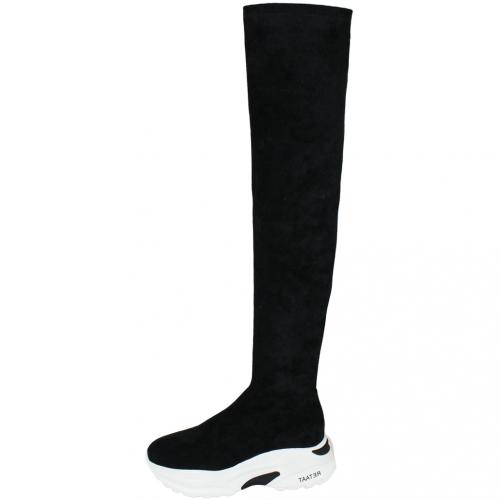 運動風顯瘦貼腿絨布輕量化厚底過膝襪靴