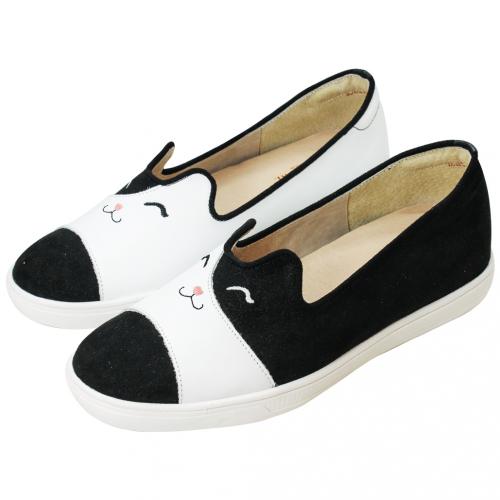 可愛貓貓綿羊皮輕量化厚底休閒鞋