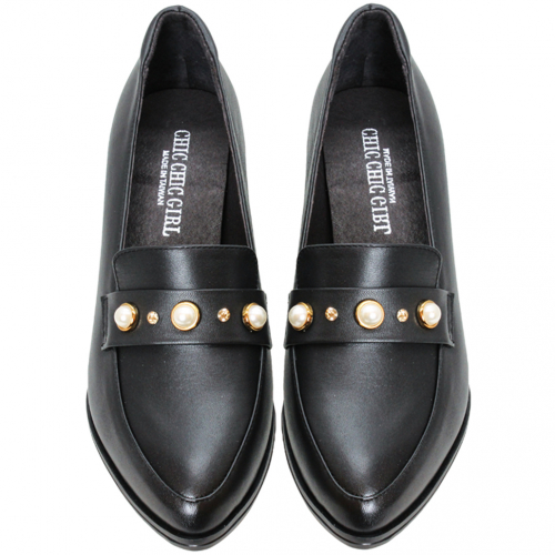 古馳風復古珍珠粗跟鞋