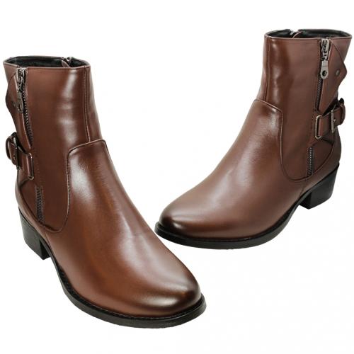 搖滾風小牛皮低跟短靴