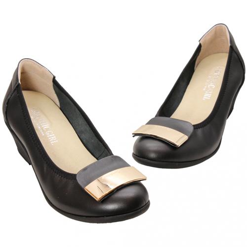 OL基本款金屬釦小羊皮厚底楔型鞋