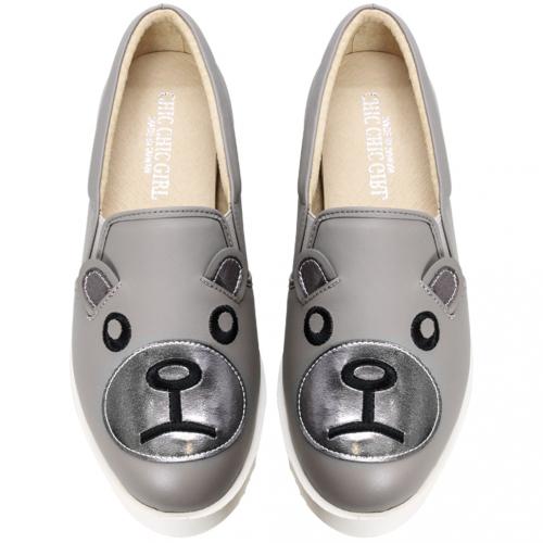可愛熊熊小牛皮厚底休閒鞋(灰熊款)