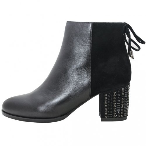 歐美風異材質拼接鉚釘水鑽粗跟短靴