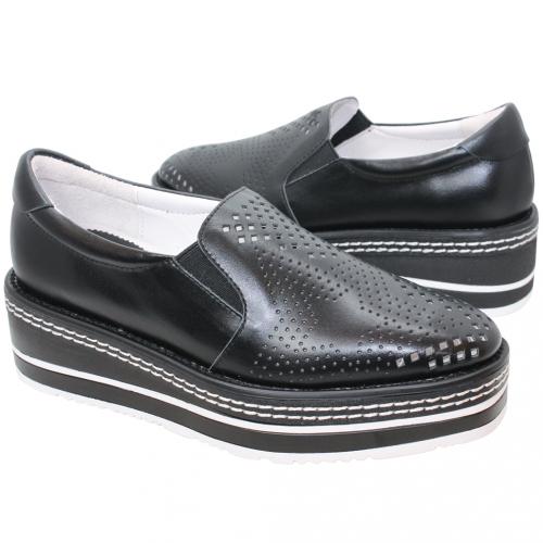 個性星星雷雕小牛皮厚底增高鞋