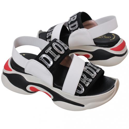 迪奧運動風小牛皮彈性厚底涼鞋
