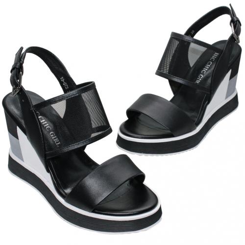 時尚網紗小羊皮輕量增高楔形涼鞋