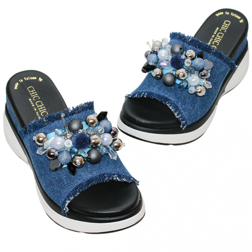 可愛水鑽單寧增高氣墊拖鞋