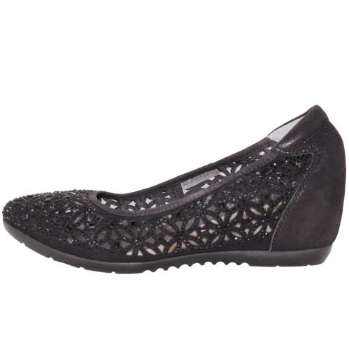 時尚水鑽小羊皮楔形跟鞋