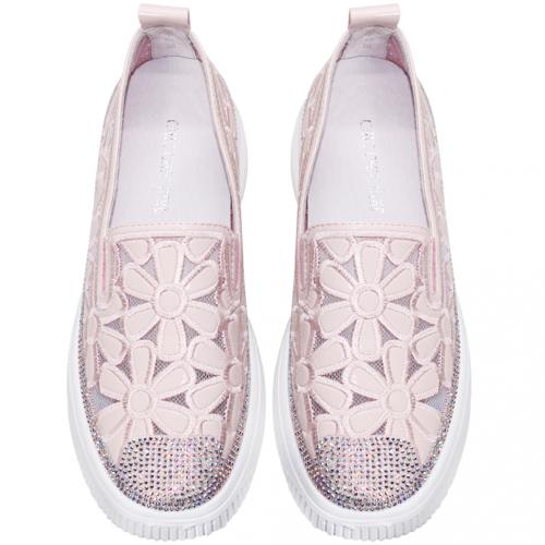 可愛花花羊漆皮透氣輕量厚底休閒鞋