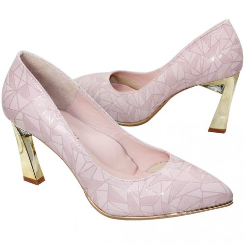 幾何風壓紋小羊皮水鑽金屬跟鞋