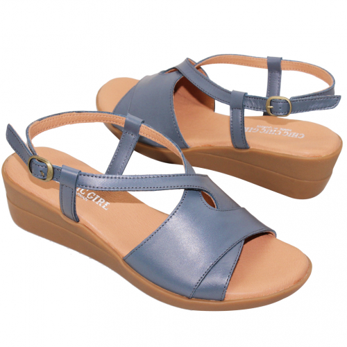 簡約風繞踝小羊皮楔型涼鞋