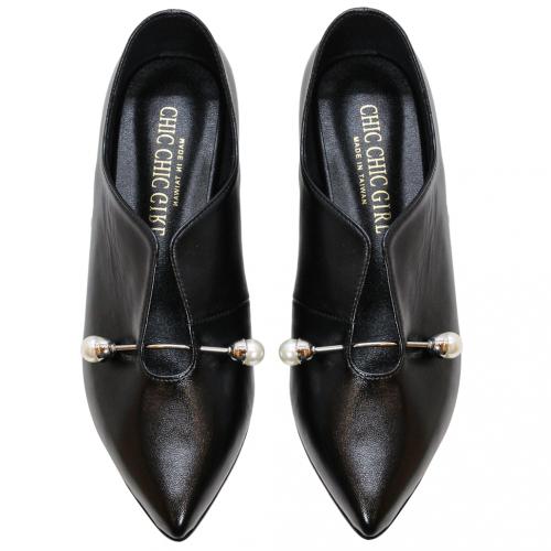 韓風小羊皮珍珠尖頭低跟鞋