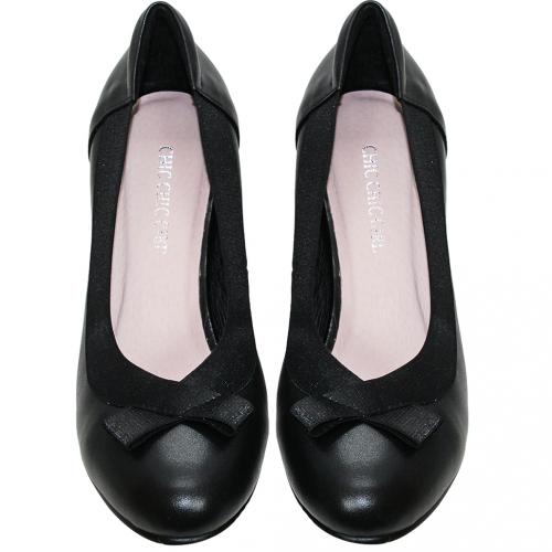 氣質蝴蝶結小羊皮氣墊跟鞋