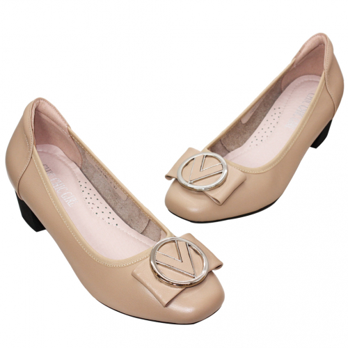 歐美風蝴蝶結小羊皮氣墊粗跟鞋