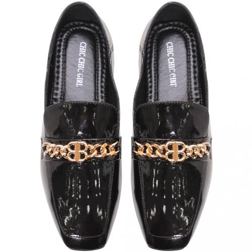 精品風羊漆皮時尚平底鞋
