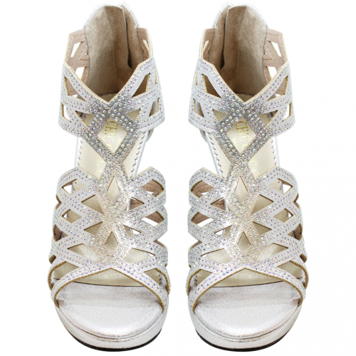 銀河水鑽小羊皮雷雕四寸跟鞋