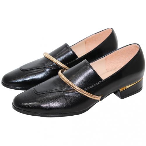 韓風小羊皮金屬環低跟鞋