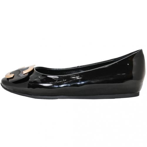 時尚D字金屬釦羊漆皮娃娃鞋