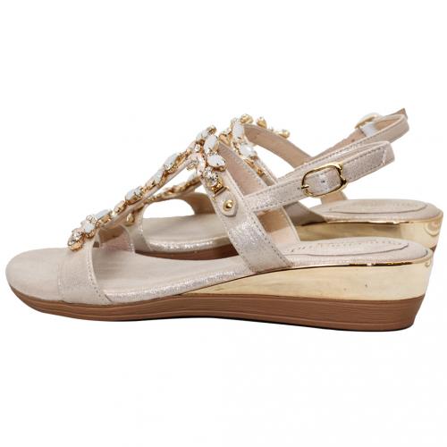 華麗蝴蝶寶石頂級絲光布平口小坡跟涼鞋