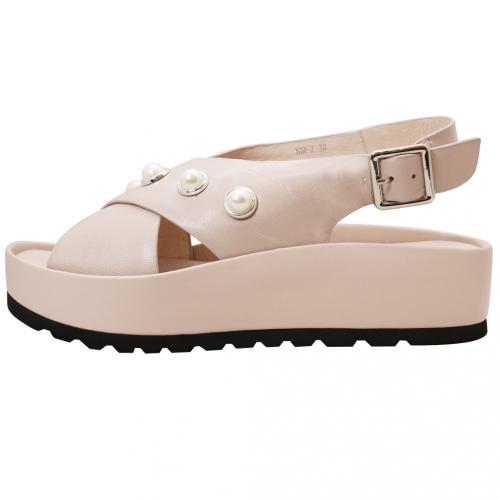 歐美風珍珠小羊皮厚底增高涼鞋