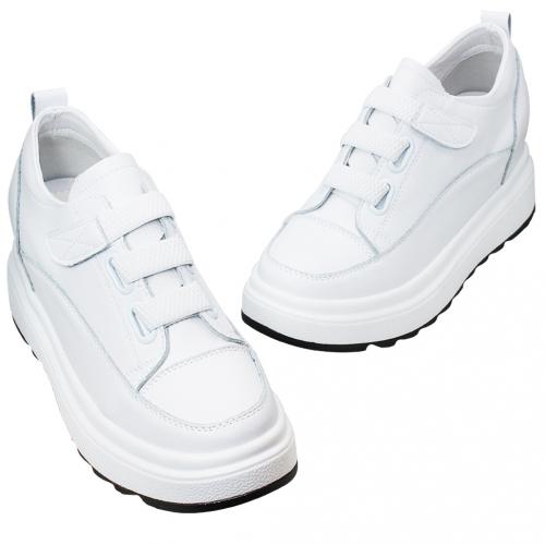 精品風小牛皮內增高休閒鞋