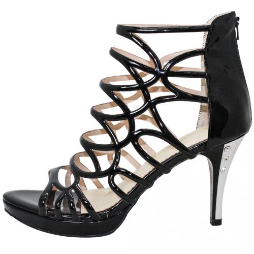 性感鏤空羊漆皮羅馬高跟涼鞋