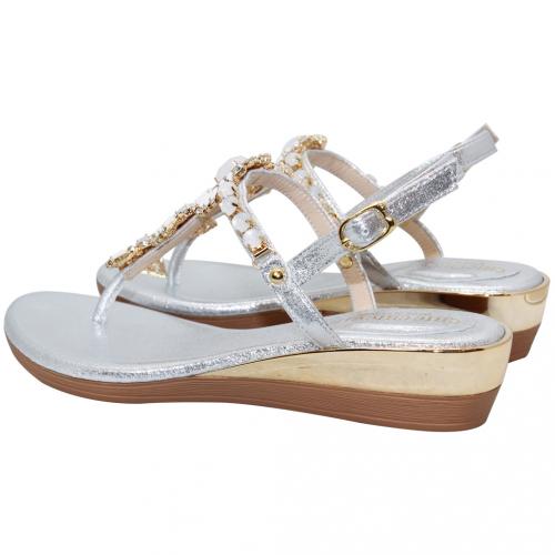 渡假風貝殼寶石頂級絲光布夾腳小坡跟涼鞋