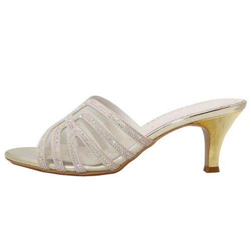 華麗水鑽氣質中跟涼鞋