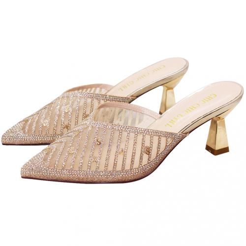 性感小牛皮水鑽低跟穆勒鞋