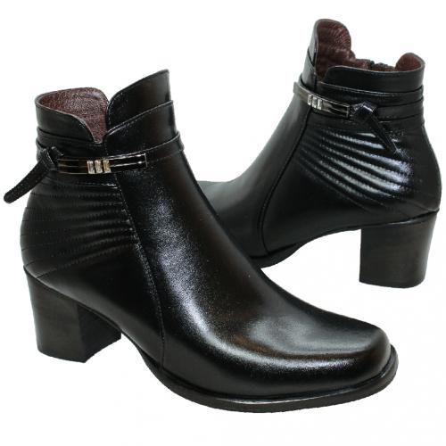優雅小羊皮條紋中跟短靴